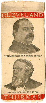 Cleveland and Thurman: PUBLIC OFFICE A PUBLIC TRUST / NOBLEST ROMAN jugate ribbon