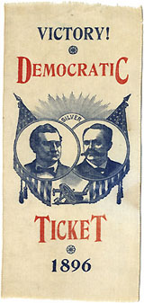 Bryan and Sewall: Rare DEMOCRATIC TICKET / VICTORY! 1896 jugate ribbon