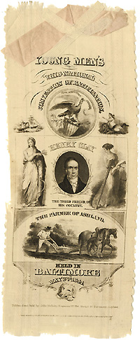 Henry Clay: Massive YOUNG MEN'S WHIG NATIONAL CONVENTION of RATIFICATION portrait ribbon