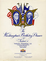 Franklin D. Roosevelt: 1942 Washington's Birthday Dinner of Texas program and invitation
