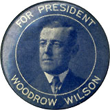 Woodrow Wilson: Scarce FOR PRESIDENT blue tone pinback
