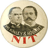 McKinley and Hobart: Rare anti-McKinley NIT lapel stud
