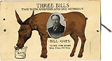 1908 Candidates: Three Bills mechanical postcard