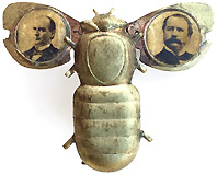 McKinley and Hobart: Classic mechanical gold bug jugate badge