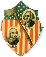 Benjamin Harrison and George Washington: 1889 Inauguration souvenir badge