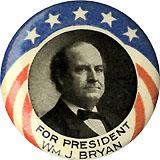 William Jennings Bryan: Colorful FOR PRESIDENT WM. J. BRYAN picture pinback