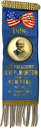 Levi P. Morton: Rare 1896 St. Louis Republican Convention New York delegation badge