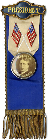 William Randolph Hearst: Supemely rare OUR FRIEND presidential ribbon badge