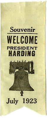 Warren Harding: WELCOME PRESIDENT HARDING West Coast tour ribbon