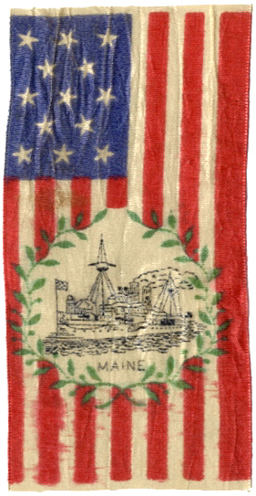 Spanish-American War: Patriotic USS MAINE flag ribbon