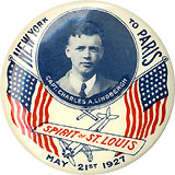 Charles Lindbergh: Colorful patriotic NEW YORK TO PARIS pinback
