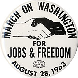 Martin Luther King, Jr.: Large size MARCH ON WASHINGTON button
