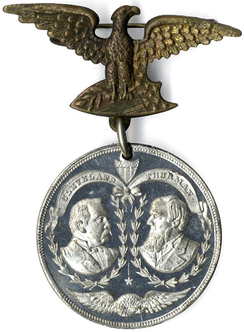 Cleveland and Thurman: 1888 DEMOCRATIC CANDIDATES jugate badge