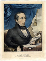 John Tyler: Hand-tinted presidential portrait print by Currier