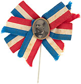 James Garfield: Pristine ferrotype campaign stickpin badge with patriotic ribbon