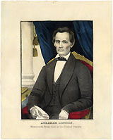Abraham Lincoln: Early presidential hand-colored lithograph by Kellogg