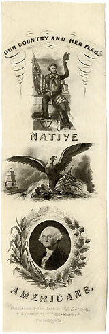 Nativism and Henry Clay: Large graphic NATIVE AMERICANS silk ribbon