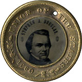 Douglas and Johnson: Pristine UNION OF THE STATES ferrotype badge