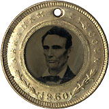 Lincoln and Hamlin: Pristine ferrotype badge