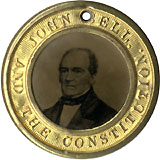 Bell and Everett: Pristine CONSTITUTION AND THE UNION ferrotype badge