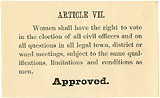 Woman Suffrage: Ballot approving state constitutional amendment