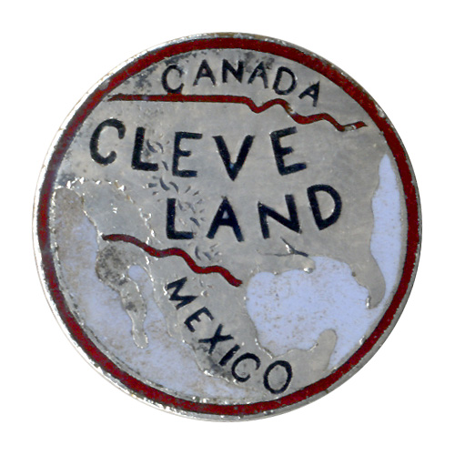 Grover Cleveland: Rare CLEVE-LAND enameled silver lapel stud