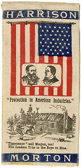Harrison and Morton: Scarce American Flag & Log Cabin jugate campaign ribbon