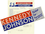 Kennedy and Johnson: Texas campaign letter and sticker