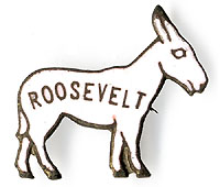 Franklin Roosevelt: Enameled brass donkey pin