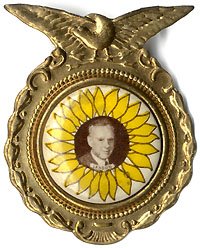 Alfred Landon: Sunflower picture button in patriotic enclosure