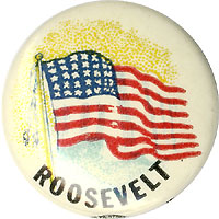 Franklin Roosevelt: American Flag celluloid button