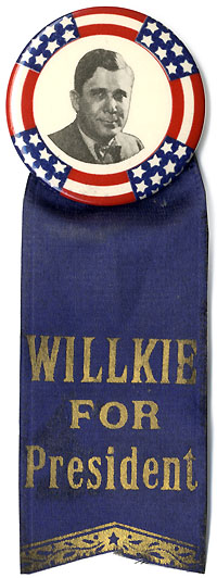 Wendell Willkie: Stars-and-stripes picture button w/