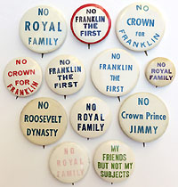 Franklin Roosevelt: Collection of royalty-themed anti-reelection buttons
