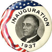 Franklin Roosevelt: 1937 Inauguration flag-border picture button