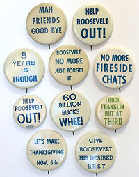 Franklin Roosevelt: Collection of anti-reelection slogan buttons