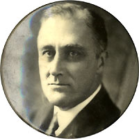 Franklin Roosevelt: Rare early photo button