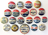 Wendell Willkie: Collection of various campaign buttons