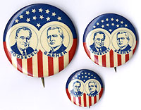 Roosevelt and Garner: Stars-and-stripes jugate pinback set