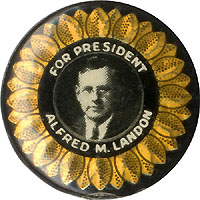 Alfred Landon: Rare FOR PRESIDENT reflector picture button (Hake 39)