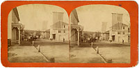 Blaine and Logan: Stereoview street scene w/ campaign flag banners