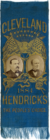 Cleveland and Hendricks: Fine THE PEOPLE'S CHOICE photographic jugate ribbon