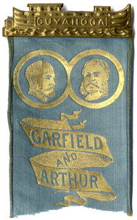 Garfield and Arthur: Rare CUYAHOGA canal boat jugate ribbon badge