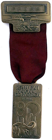 Ronald Reagan: 1980 RNC Press badge