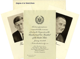Kennedy and Johnson: Congressional inauguration invitation package