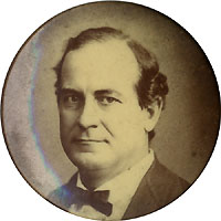 William Jennings Bryan: Sepia photo portrait pinback