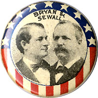 Bryan and Sewall: Patriotic jugate pinback