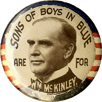 William McKinley: Scarce SONS OF BOYS IN BLUE portrait lapel stud