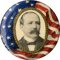 Alton Parker: Flag background portrait pinback