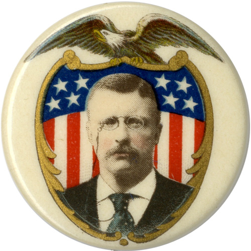 Theodore Roosevelt: Patriotic eagle & shield chromo portrait pinback