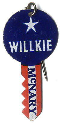 Willkie and McNary: Key-shaped die-cut lapel pin